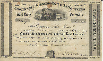 1855 CINCINNATI WILMINGTON & ZANESVILLE RAIL ROAD COMPANY Stock Certificate OHIO