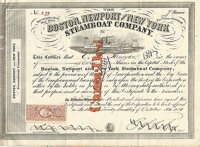 1863 BOSTON NEWPORT AND NEW YORK STEAMBOAT COMPANY Stock Share Massachusetts