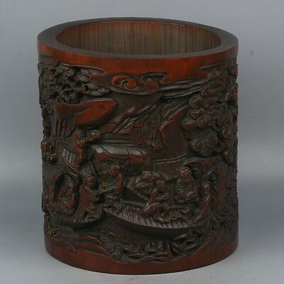 China Exquisite Hand-carved Ancient people carving bamboo pen holder