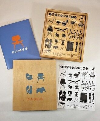 Charles & Ray Eames Wood Backed Rubber Stamp Kit 20 stamps, booklet, box
