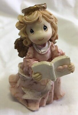 Precious Moments Whittle Angel Songbook Pink Heart Blonde Enesco 3""