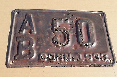 Vintage 1933 Connecticut  License Plate; AB 50; As-Is Condition