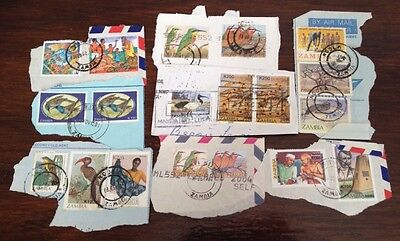 Assorted Stamps from Zambia - unsoaked on paper