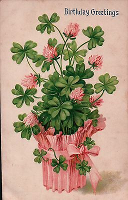 Potted CLOVER and FLOWERS Birthday Greetings Vintage Postcard