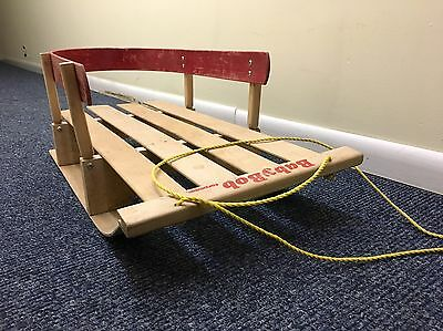 Vintage Torpedo Baby Sleigh Hard Maple Childs Bent Wood Pull Sled in Box CANADA