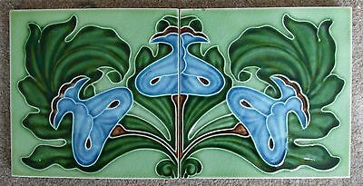 "Original  English  Art Nouveau  two tile panel, c1905/7 12""x6"" 969 and 970"