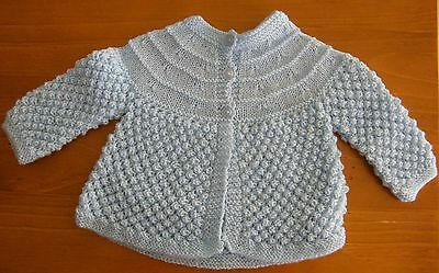 Baby Jacket: Hand Knitted - Pale Blue - 6 Months