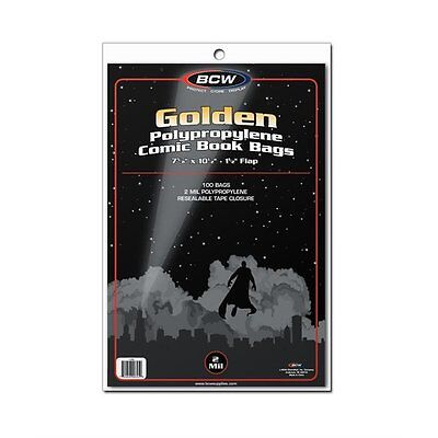 200 BCW Golden Age Comic Book 2-mil Clear Archival Poly Bags 7 5/8 x 10 1/2