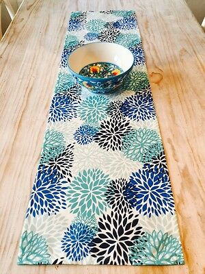 **STUNNING NEW INDOOR/OUTDOOR AQUA, BLUE & WHITE FLORAL TABLE RUNNER 138cm**