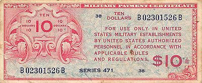 USA MPC  $10  ND.  1946  M 7 Series 471  Run 38  Circulated Banknote