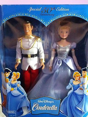 "Disney's Cinderella & Prince Charming 12"" Doll Set 50th Anniversary Edition 2005"