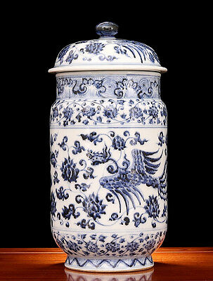 Chinese old hand-carved porcelain Blue and White Double phoenix wear pattern pot
