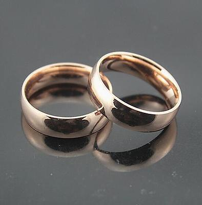 10x Comfort-fit 6mm Rose Gold Stainless Steel Classic Band Rings Engagement Ring