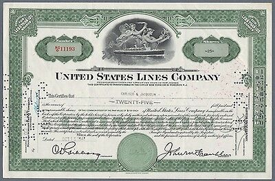 1948 Certificate for Shares US Lines Shipping Company New Jersey