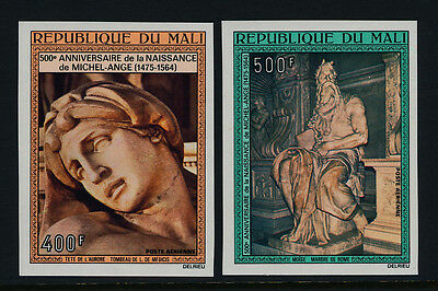 Mali C245-6 imperf MNH Art, Sculpture, Michelangelo