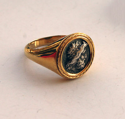 God Zeus Greek Coin Ring 925 Sterling Silver Gold Plated Code 777