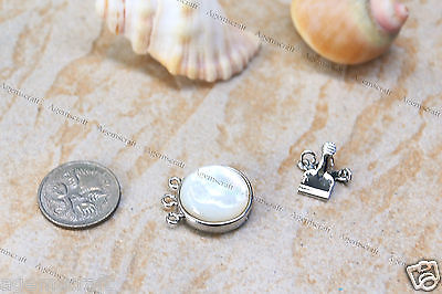Mother of Pearl 3 strands silver tone push box clasp fastener connector 27x18mm