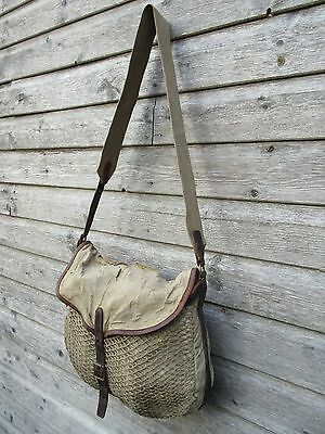 Vintage fishing bag with net front and leather trim