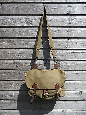 Vintage leather and brass fishing bag