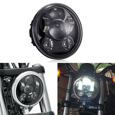 """5.75"""" 5 3/4 LED Motorcycle Headlight Daymaker Black LED Projector DRL Harley HID"""