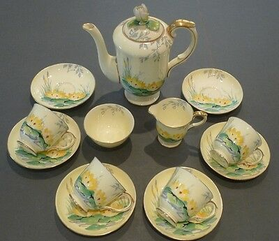 Vintage Crown Staffordshire A13930 Coffee Set - Hand Painted Yellow Lily Design