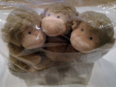 """LOT OF 3 NWT Carters Brown Monkey Large 14"""" Plush Stuffed Animal Toy Baby"""