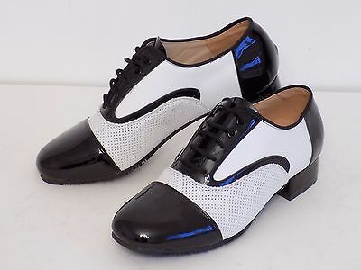 Men's Ballroom Dance Shoes Latin Patent Black White Lace up
