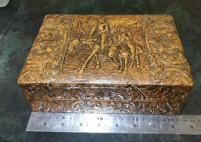 Vintage leather covered wooden cigarette cigar box Beautiful Details.