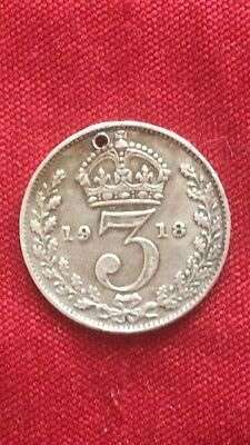 King George V 1918 Threepence Holed .925 Sterling Silver Coin