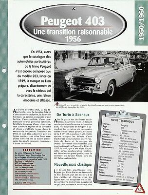 Voiture Peugeot 403 Fiche Technique Automobile 1956 Collection Car Auto
