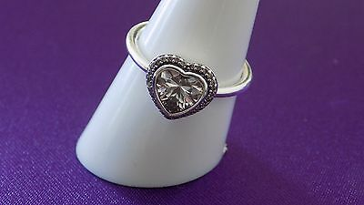 Pandora Sparkling Heart Sterling Silver Ring. S925 ALE