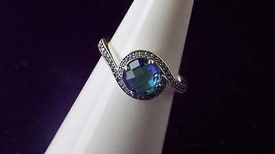 Pandora Radiant Embellishment Blue Crystal Sterling Silver Ring.S925 ALE