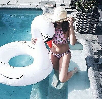Swan Swimming Pool Float Rubber Ring Inflatable White LILO Holiday