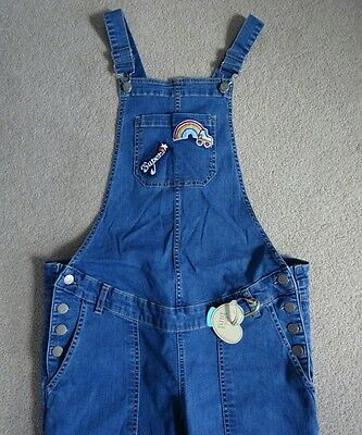 Little Bird Maternity Dungarees Size 10 Jools Oliver blue denim overalls patch