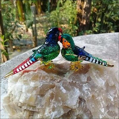 Parrot Bird Glass Pets Hand Blown Green Gold Figurine Home Art  Miniature Animal