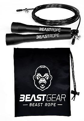 Speed Skipping Rope by Beast Gear - Crossfit Boxing MMA. Adjustable Length Ca...