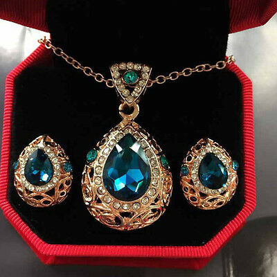 Women Water Drop Hollow Crystal Pendant Necklace Earrings Wedding Jewelry Set