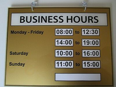 Business Hours Sign (Opening Times) Plexiglas XT Color Gold - World first -