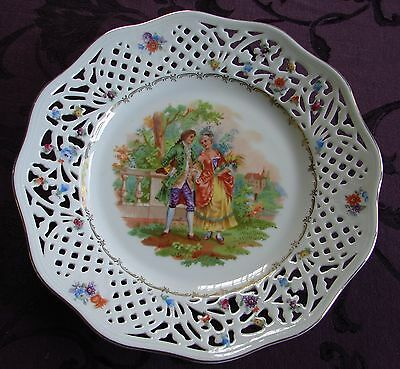 """Schumann Bavaria Reticulated China Plate Germany Us Zone Courting Couple 10 1/2"""""""