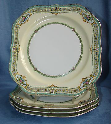 (4) Vintage Meito F&b China Japan Square Luncheon Plates ~ Dublin Pattern 8 3/8""