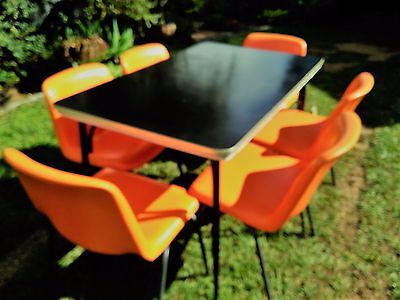 Retro laminex dining table and vinyl covered chairs