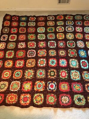 "HAND CROCHETED Multi Color Granny Square Afghan Quilt Bedspread 87"" X 82"" HUGE"