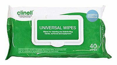 CLINELL UNIVERSAL SANITISING WIPES 40 Wipe Packs Soft Each Case Twin Range