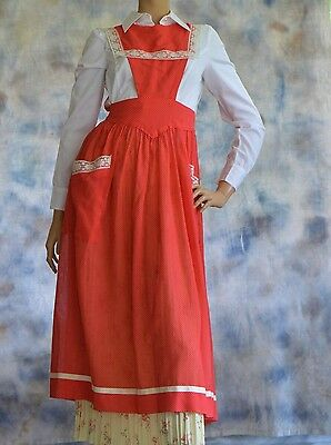 Historical Reenactment Mid Calf Apron Colonial Dotted Red & White Lace Tie Waist