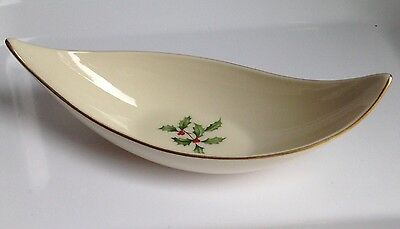 Vintage LENOX Leaf Shaped Xmas Holly Candy Dish Gold Trim, RARE!