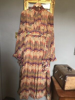 70s Taj Mahal Indian Print Maxi Cotton Dress Angel Sleeve size 8-10
