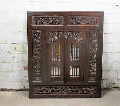 Carved Wood Wall Mirror with Shutters Flower Borders Rustic Vintage