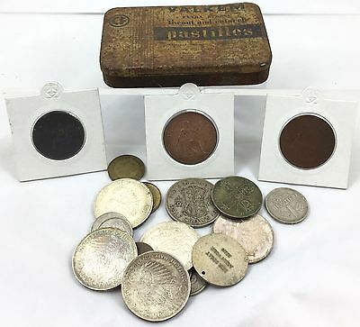 Selection Of Various Coins In Tin Including Silver ** German And British **