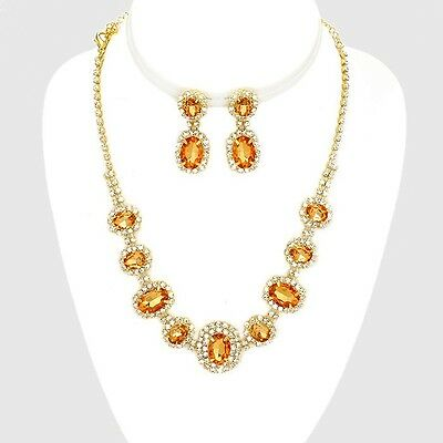 Peach gold tone rhinestone crystal necklace set brides proms party sparkly 0249