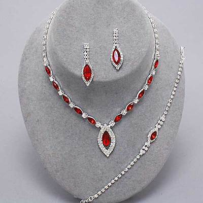 Red diamante necklace bracelet earring set rhinestone bridal bling prom party